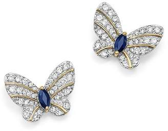 Bloomingdale's Diamond and Blue Sapphire Butterfly Stud Earrings in 14K Yellow Gold - 100% Exclusive