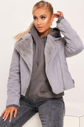 I SAW IT FIRST Grey Faux Suede Fur Biker Jacket