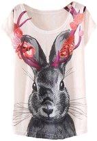 ANDI ROSE Women Loose Cotton Casual Short Sleeve Printed T-Shirt Top