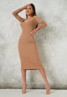 Missguided Camel Rib Midaxi Dress