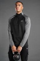 boohoo Mens Black Active Funnel Neck Track Gym Top, Black