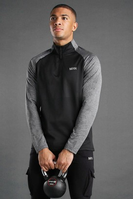 boohoo Mens Black Active Funnel Neck Track Gym Top, Black