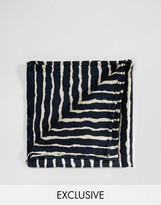 Reclaimed Vintage Inspired Stripe Pocket Square In Black