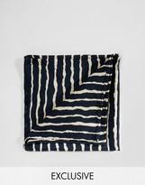 Reclaimed Vintage Stripe Pocket Square In Black