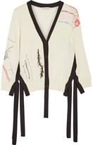 Christopher Kane Two-tone Embroidered Cotton Cardigan - Cream