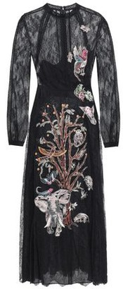 Valentino Point D'esprit-paneled Embroidered Silk-lace Midi Dress