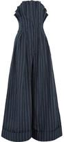 Jacquemus Pinstriped Linen Jumpsuit - Navy
