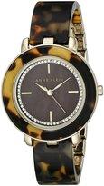 Anne Klein Women's AK/1972BMTO Swarovski Crystal Accented Dial Tortoise Resin Bangle Watch