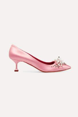 Miu Miu Embellished Satin Pumps - Baby pink