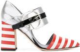 Pollini striped ankle strap heels