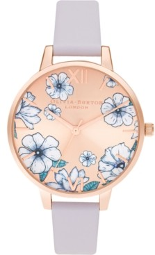 Olivia Burton Women's Groovy Blooms Parma Violet Leather Strap Watch 34mm