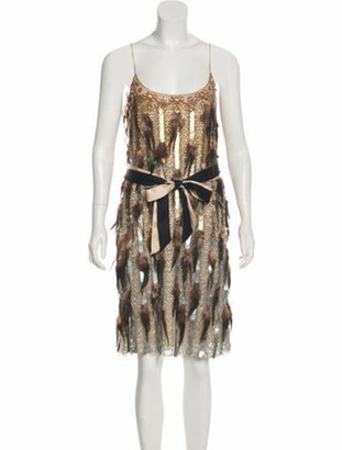 Matthew Williamson Feathered Mini Dress Beige