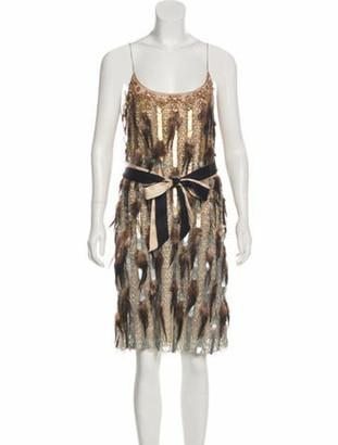 Matthew Williamson Feathered Mini Dress Beige