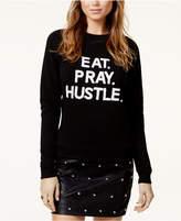 Bow & Drape Eat Pray Hustle Sequined Graphic Sweatshirt