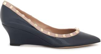 Valentino Garavani Studded Patent-leather Wedge Pumps