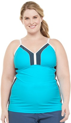 Free Country Plus Size Colorblock Sporty Tankini