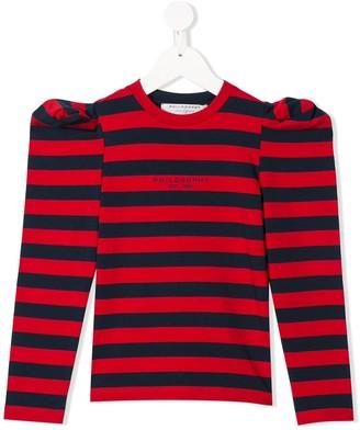 Philosophy Di Lorenzo Serafini Kids Juliet-sleeved striped top