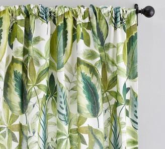 Pottery Barn Palm Print Linen/Cotton Rod Pocket Curtain