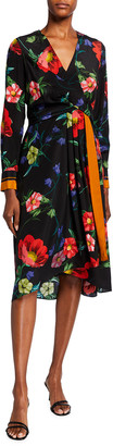 Kobi Halperin Zula Floral Print Long-Sleeve Silk Dress