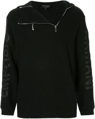 Emporio Armani zipper pull-over hoodie