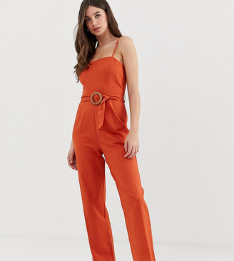ASOS DESIGN Tall strappy pinny belted jumpsuit