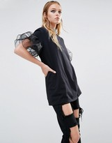 Reclaimed Vintage Oversized T-Shirt With Sheer Ruffle Sleeves