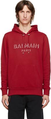 Balmain Red 3D Logo Hoodie