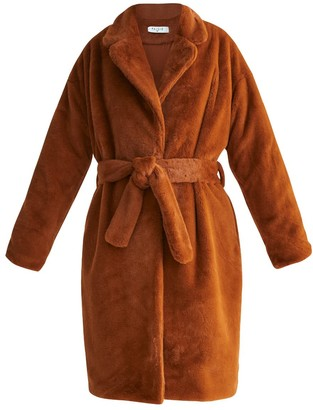 Paisie Oversized Soft Fur Teddy Bear Coat With Self Belt In Brown