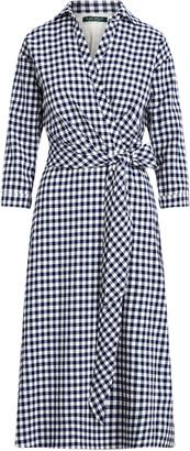 Ralph Lauren Gingham Elbow-Sleeve Dress