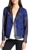 Rebecca Taylor Floral Jacquard & Leather Moto Jacket