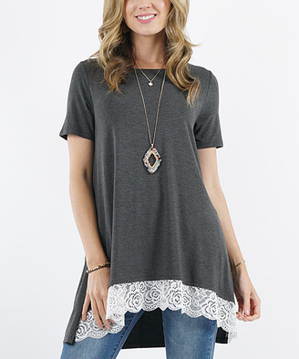 Lydiane Women's Tunics CHARCOAL - Charcoal Crewneck Short-Sleeve Lace-Trim Hi-Low Tunic - Women