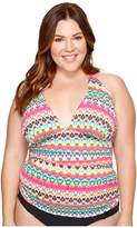 Bleu Rod Beattie Plus Size In Living Color Halter Tankini Top