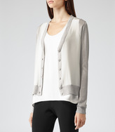 Reiss Itolo SILK FRONT CARDIGAN