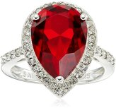 Amazon Collection Sterling Silver Swarovski Denim Color and Clear Crystal Pear Ring, Size 8