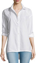 Frame Oversized Button-Front Blouse, Blanc