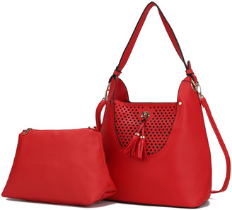 MKF Collection by Mia K. Women's Hobos - Red Perforated Tassel Convertible Hobo