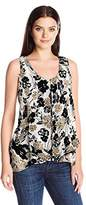 NY Collection Women's Plus Size Printed Sleeveless Invert Pleat Sharkbite Top