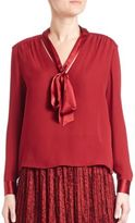 Alice + Olivia Irma Silk Tie-Neck Blouse