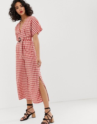 Moon River gingham jumpsuit-Red