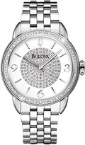 Bulova Diamond WoMen's Quartz Watch with White Dial Analogue Display and Silver Stainless Steel Bracelet - 96R184
