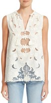 Sea Sleeveless Embroidered Top