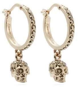 Alexander McQueen Skull Crystal Embellished Hoop Earrings - Womens - Gold