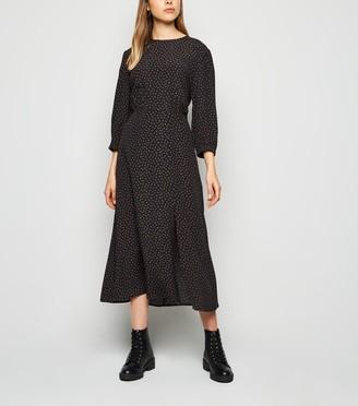 New Look Floral Print Side Split Midi Dress