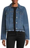 Rag & Bone Oversized Button-Front Denim Jacket w/ Fringed Hem