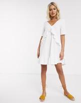 Asos Design DESIGN v front frill seam smock dress in white
