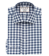 Thomas Pink Plato Check Slim Fit Button Cuff Shirt