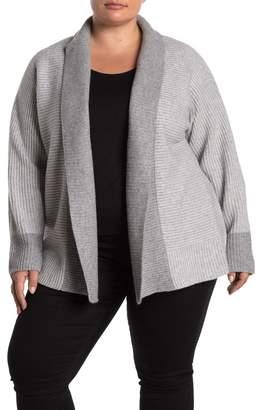 Magaschoni M Colorblock Shawl Collar Cashmere Cardigan (Plus Size)