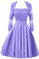Gorgeous Bridal Satin Lace Short Mother of the Bride Dress Cocktail Dress with Jacket - US