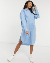 Thumbnail for your product : Monki Carol cotton poplin midi shirt dress in blue