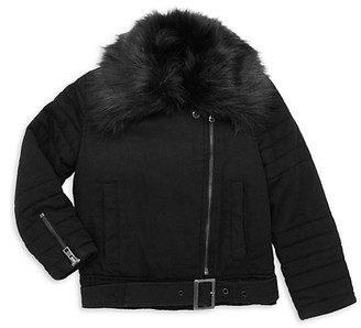 Bella Dahl Little Girl's & Girl's Faux Fur-Trimmed Denim Moto Jacket